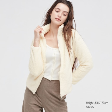 Women Fluffy Yarn Fleece Full-Zip Jacket, Off White, Medium