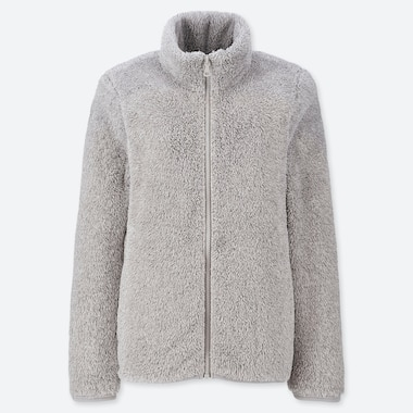 WOMEN FLUFFY YARN FLEECE FULL-ZIP JACKET, GRAY, medium