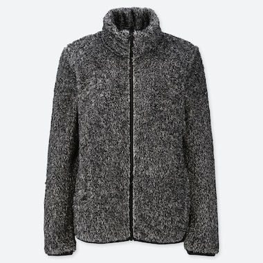 WOMEN FLUFFY YARN FLEECE FULL-ZIP JACKET, DARK GRAY, medium