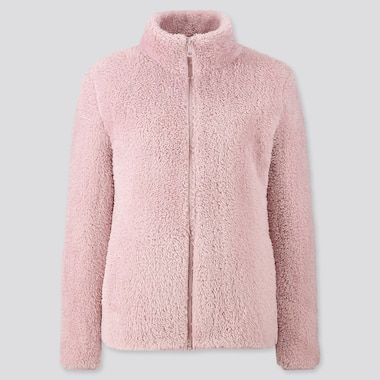 WOMEN FLUFFY YARN FLEECE FULL-ZIP JACKET, PINK, medium