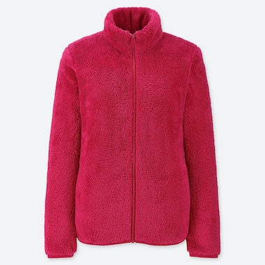 WOMEN FLUFFY YARN FLEECE ZIPPED JACKET