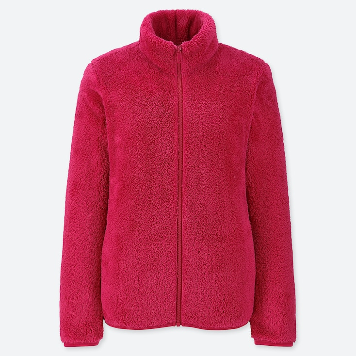 Women Fluffy Yarn Fleece Full-Zip Jacket, Pink, Large