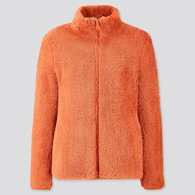 Women Fluffy Yarn Fleece Full-Zip Jacket, Orange, Medium