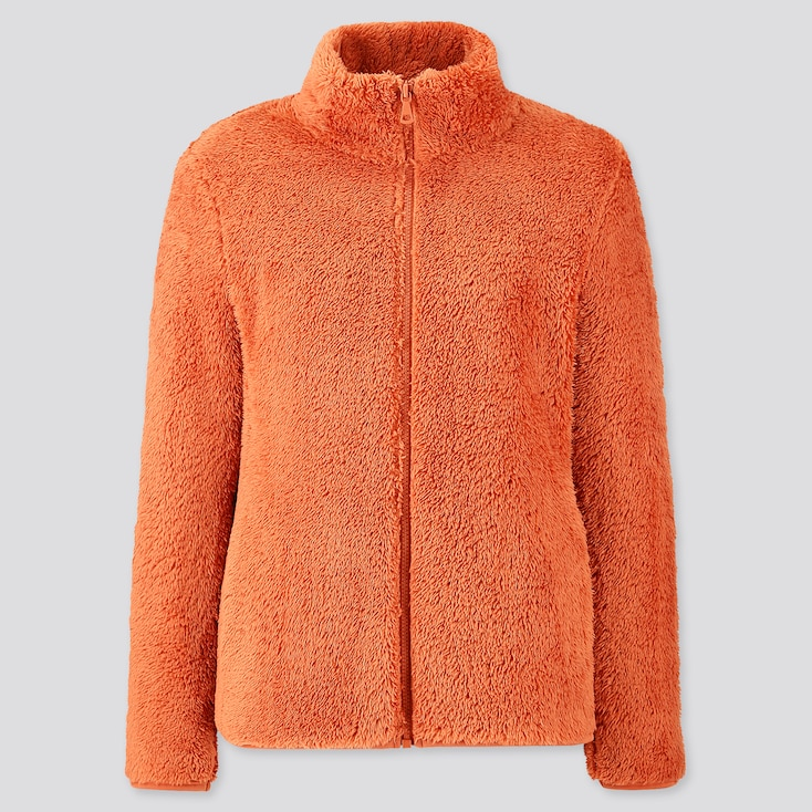 Women Fluffy Yarn Fleece Full-Zip Jacket, Orange, Large