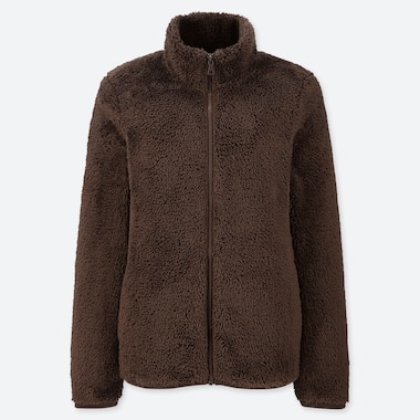 WOMEN FLUFFY YARN FLEECE FULL-ZIP JACKET, BROWN, medium