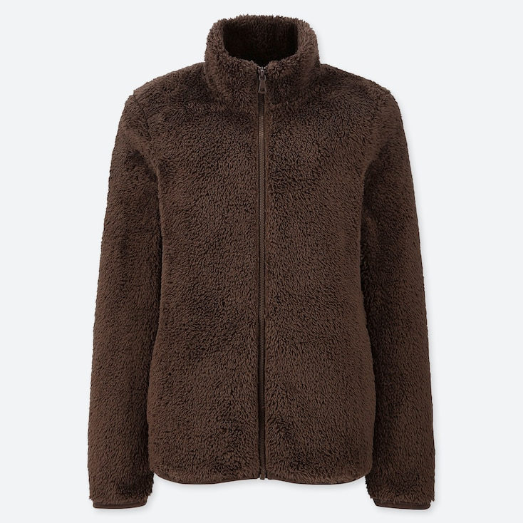 WOMEN FLUFFY YARN FLEECE FULL-ZIP JACKET, BROWN, large