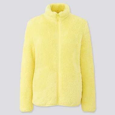 Women Fluffy Yarn Fleece Full-Zip Jacket, Yellow, Medium
