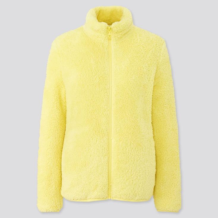 Women Fluffy Yarn Fleece Full-Zip Jacket, Yellow, Large