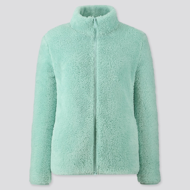 Women Fluffy Yarn Fleece Full-zip Jacket, Green, Large