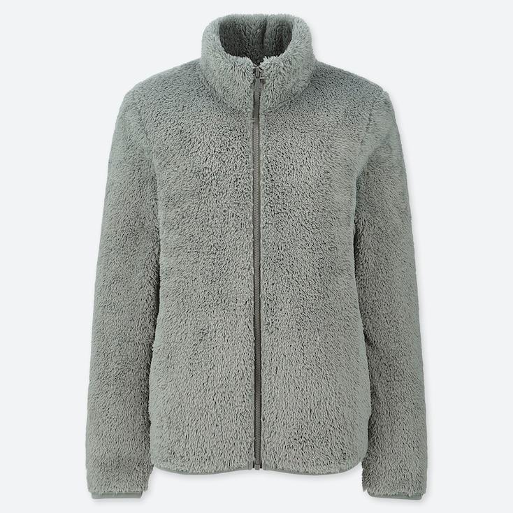 Women Fluffy Yarn Fleece Full-Zip Jacket, Green, Large