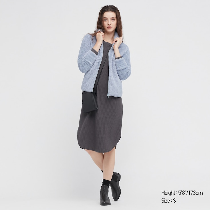 Women Fluffy Yarn Fleece Full-Zip Jacket, Light Blue, Large