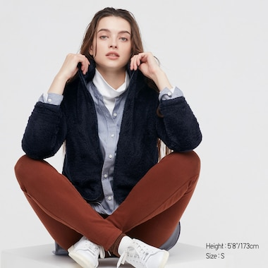 Women Fluffy Yarn Fleece Full-Zip Jacket, Navy, Medium