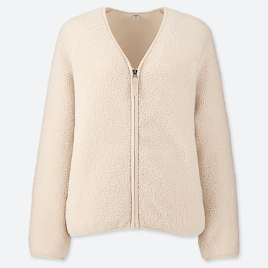 WOMEN PILE-LINED FLEECE V-NECK CARDIGAN, OFF WHITE, medium