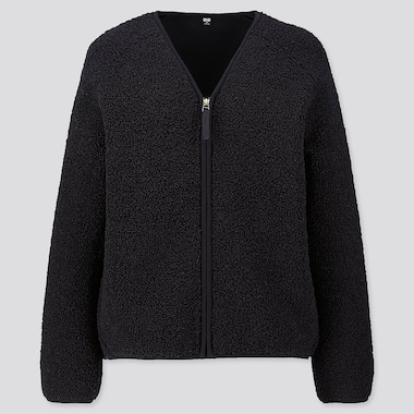 WOMEN PILE-LINED FLEECE V-NECK CARDIGAN, BLACK, medium