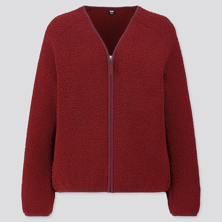 WOMEN PILE-LINED FLEECE V-NECK CARDIGAN, RED, large
