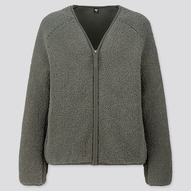 WOMEN PILE-LINED FLEECE V-NECK CARDIGAN, OLIVE, medium