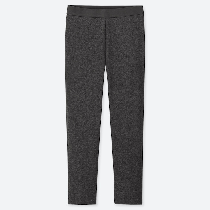 WOMEN PONTE SLIM PANTS, DARK GRAY, large