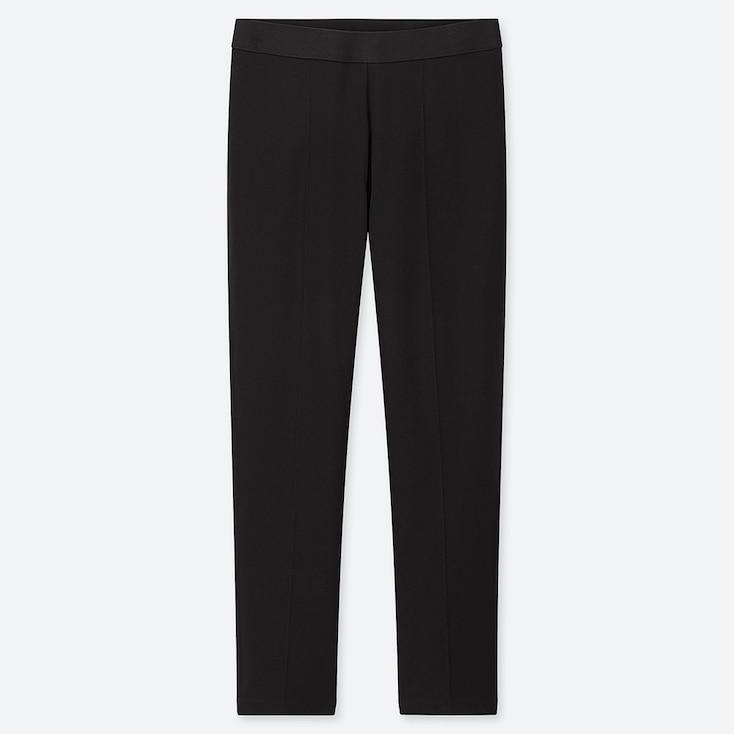 WOMEN PONTE SLIM PANTS, BLACK, large