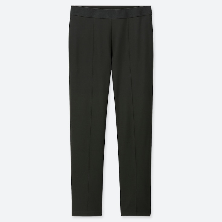 WOMEN PONTE SLIM PANTS, DARK GREEN, large