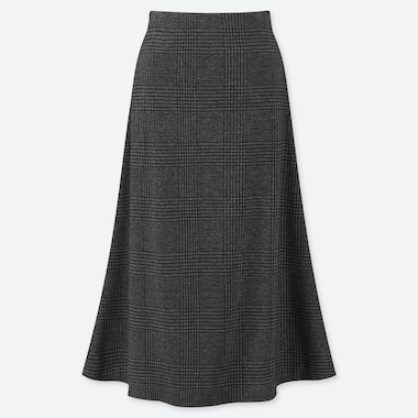 WOMEN JACQUARD KNEE LENGTH FLARE SKIRT, DARK GRAY, medium