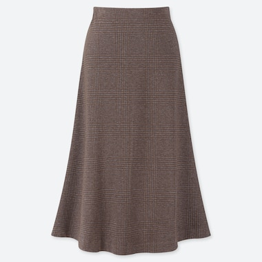 WOMEN JACQUARD KNEE LENGTH FLARE SKIRT, BROWN, medium
