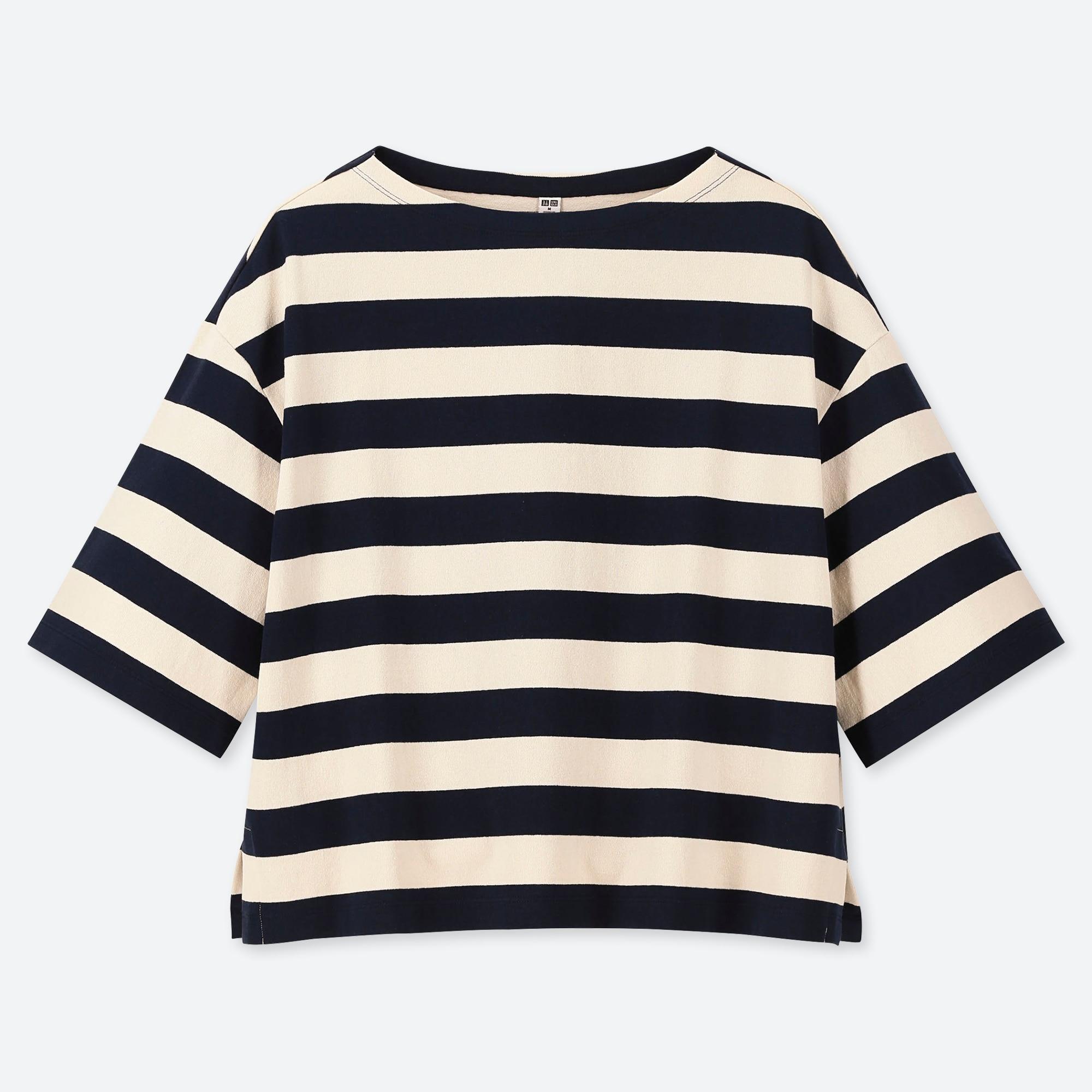 Womens Ladies new cotton large stripe T-shirt womens shortsleeve top.Size:S.M.L.