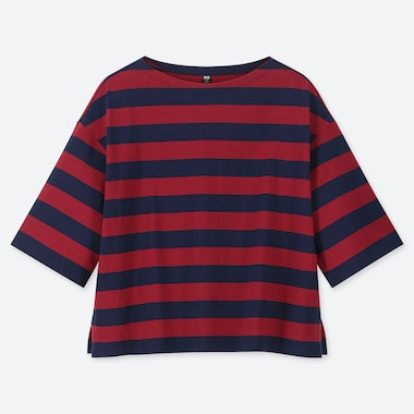 WOMEN STRIPED 3/4 SLEEVE T-SHIRT, RED, medium