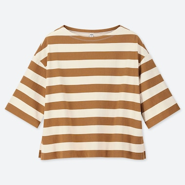 WOMEN STRIPED 3/4 SLEEVE T-SHIRT, YELLOW, medium