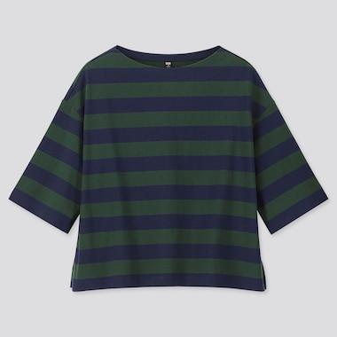 WOMEN STRIPED 3/4 SLEEVE T-SHIRT, DARK GREEN, medium
