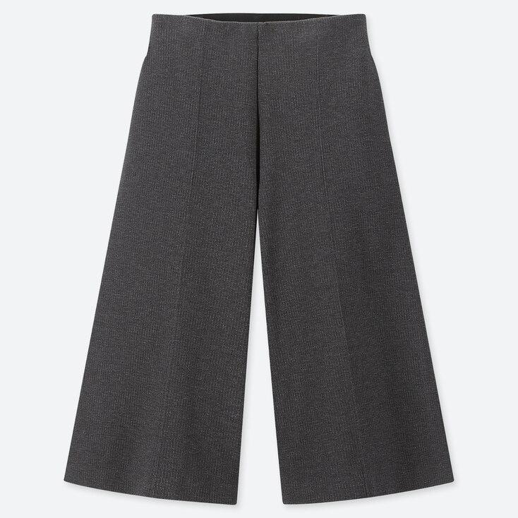 WOMEN WIDE CROPPED PANTS, DARK GRAY, large