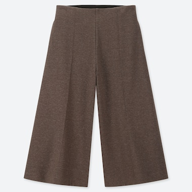 WOMEN WIDE CROPPED PANTS, BROWN, medium