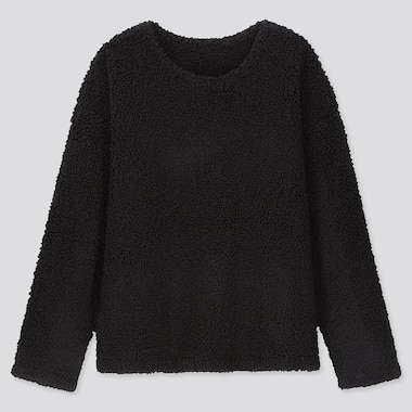 WOMEN PILE-LINED FLEECE LONG-SLEEVE PULLOVER, BLACK, medium