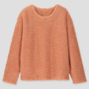 WOMEN PILE-LINED FLEECE LONG-SLEEVE PULLOVER, ORANGE, medium