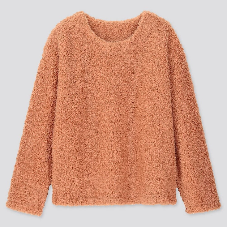 WOMEN PILE-LINED FLEECE LONG-SLEEVE PULLOVER, ORANGE, large