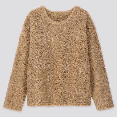 WOMEN PILE-LINED FLEECE LONG-SLEEVE PULLOVER, BEIGE, medium