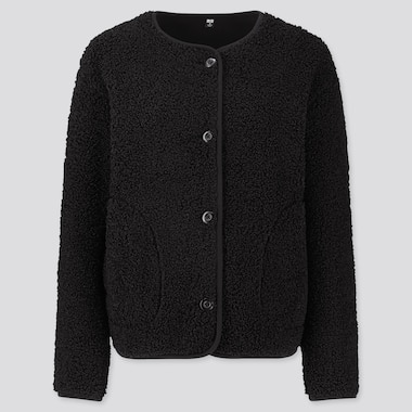 WOMEN PILE-LINED FLEECE CREW NECK CARDIGAN, BLACK, medium