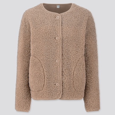 Women Pile-Lined Fleece Crew Neck Cardigan, Beige, Medium