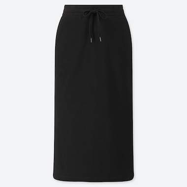 WOMEN PILE-LINED SWEAT SKIRT, BLACK, medium
