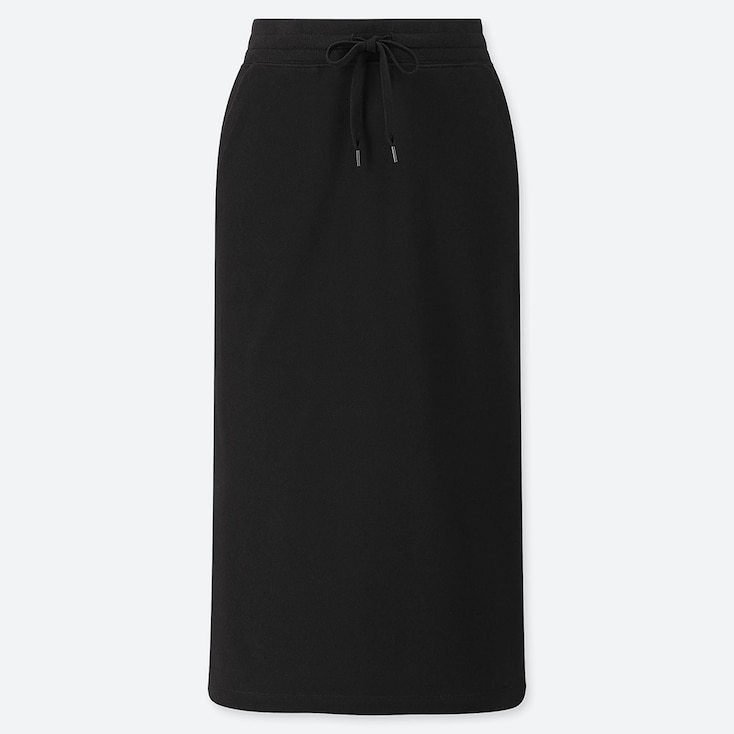 WOMEN PILE-LINED SWEAT SKIRT, BLACK, large