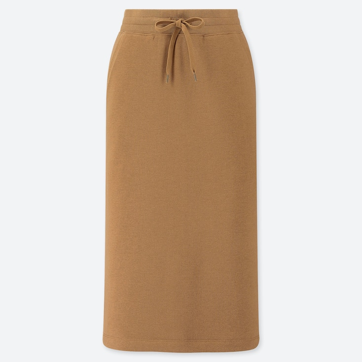 WOMEN PILE-LINED SWEAT SKIRT, BROWN, large