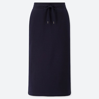 WOMEN PILE-LINED SWEAT SKIRT, NAVY, medium