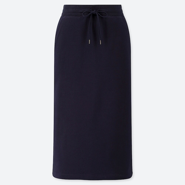 WOMEN PILE-LINED SWEAT SKIRT, NAVY, large