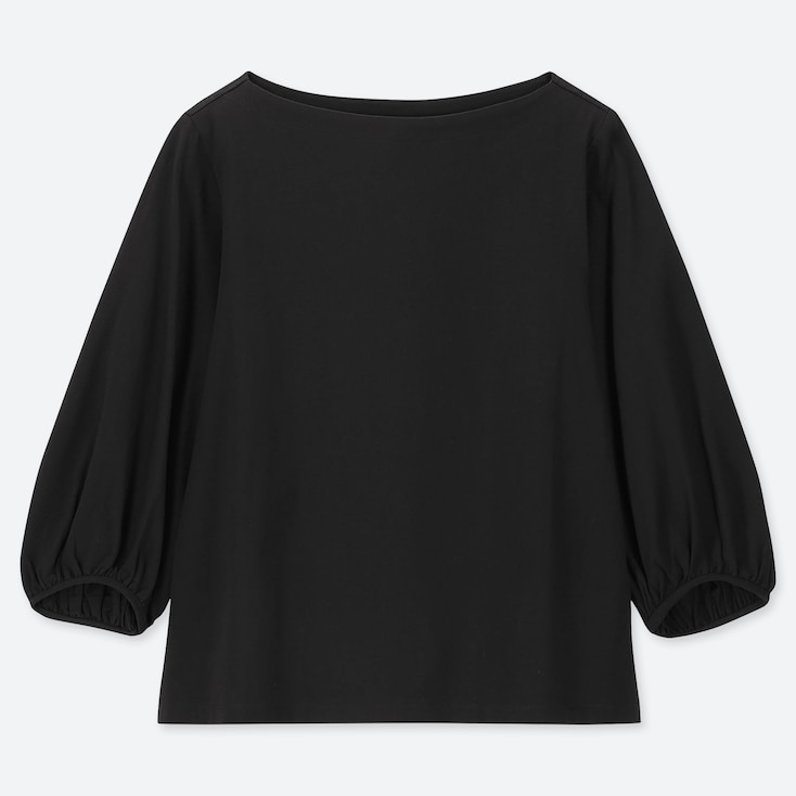 WOMEN SHINY COTTON VOLUME SLEEVE 3/4 SLEEVE T-SHIRT, BLACK, large