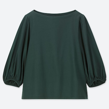 WOMEN SHINY COTTON VOLUME SLEEVE 3/4 SLEEVE T-SHIRT, DARK GREEN, medium