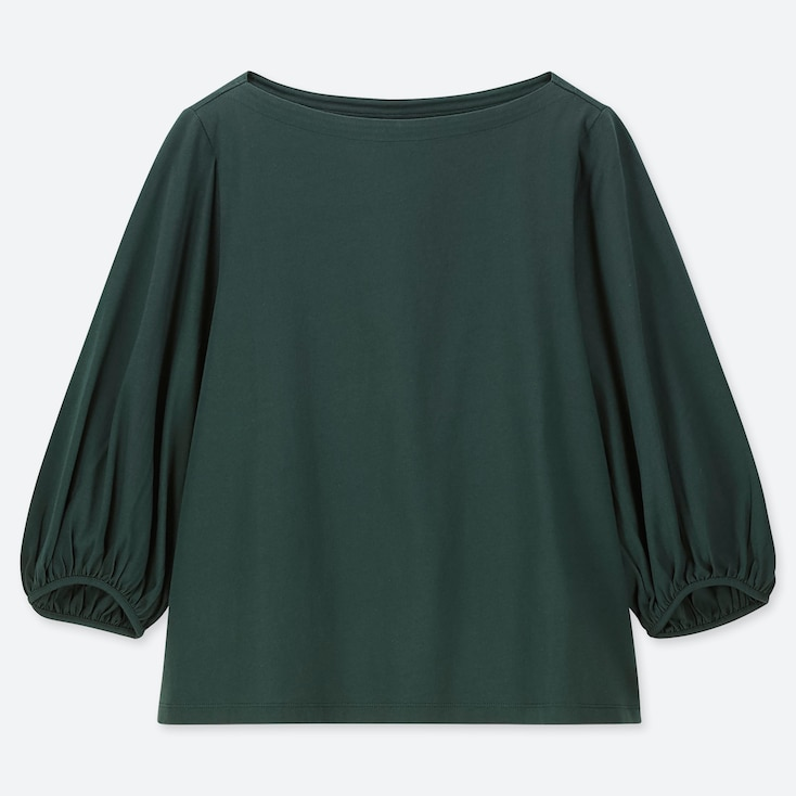 WOMEN SHINY COTTON VOLUME SLEEVE 3/4 SLEEVE T-SHIRT, DARK GREEN, large
