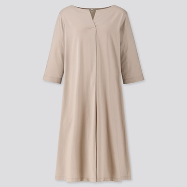 WOMEN MERCERISED COTTON SPLIT NECK HALF SLEEVED DRESS