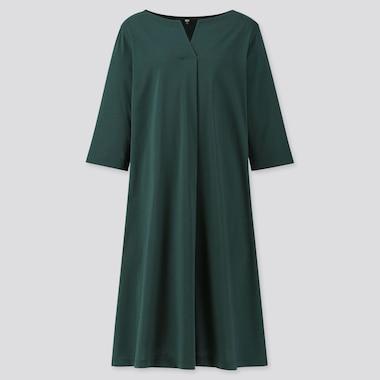 WOMEN MERCERIZED COTTON SPLIT-NECK HALF-SLEEVE DRESS, DARK GREEN, medium