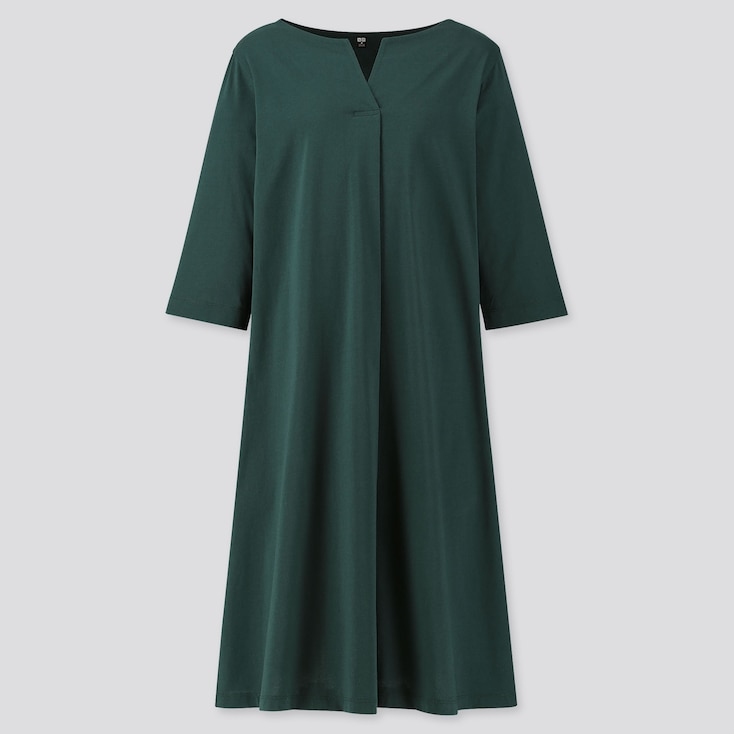 WOMEN MERCERIZED COTTON SPLIT-NECK HALF-SLEEVE DRESS, DARK GREEN, large