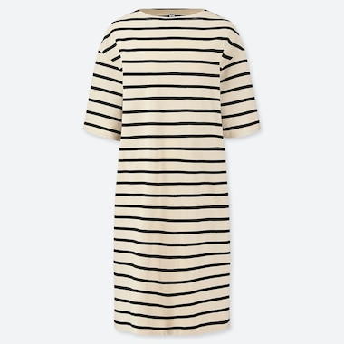 WOMEN STRIPED BOAT NECK HALF-SLEEVE DRESS (ONLINE EXCLUSIVE), OFF WHITE, medium