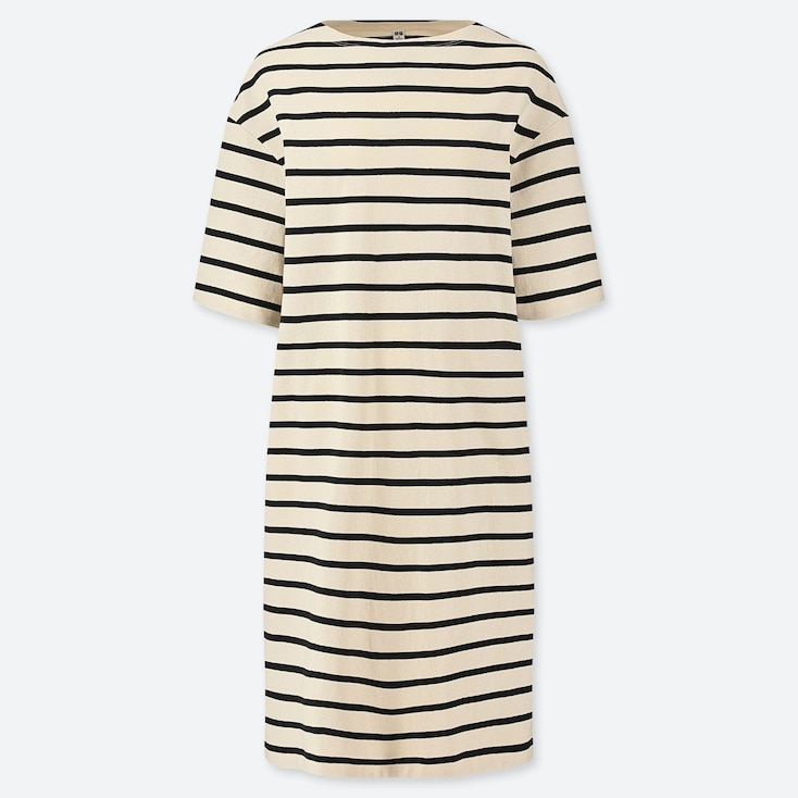 Women Striped Boat Neck Half-Sleeve Dress (Online Exclusive), Off White, Large